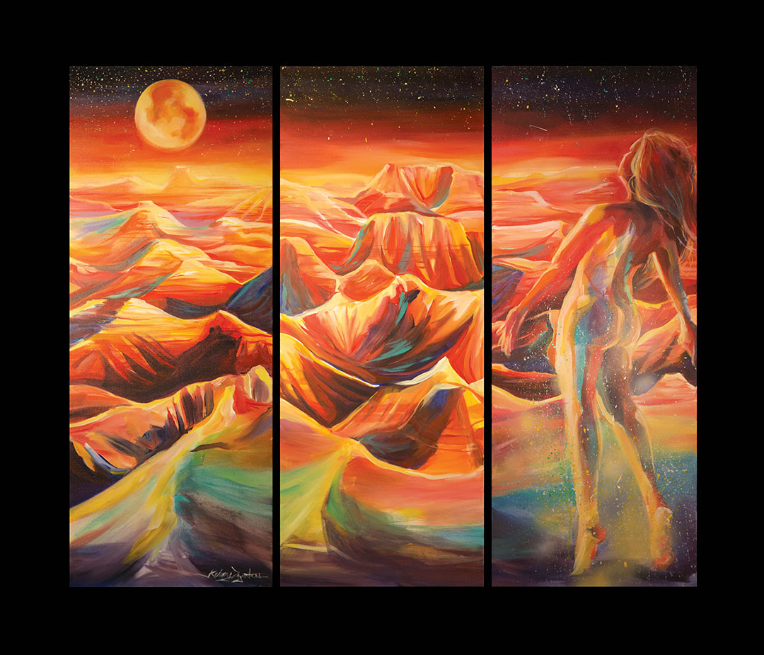 Tits to God - Badlands Triptych, acrylic, 16x40 each, 2014 - $1,400.00