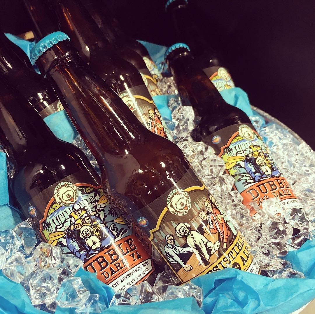 Label illustrations, Happy Dog Beer Co.