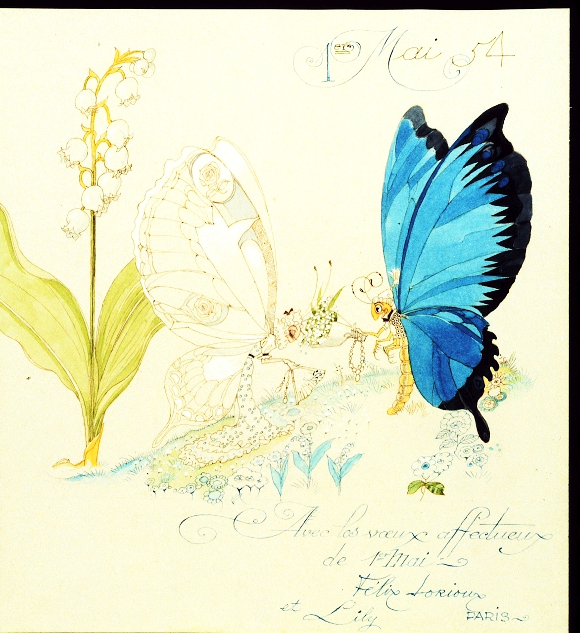 A card from FélixLorioux to his patron Huguette Clark. (EmptyMansionsBook.com.)