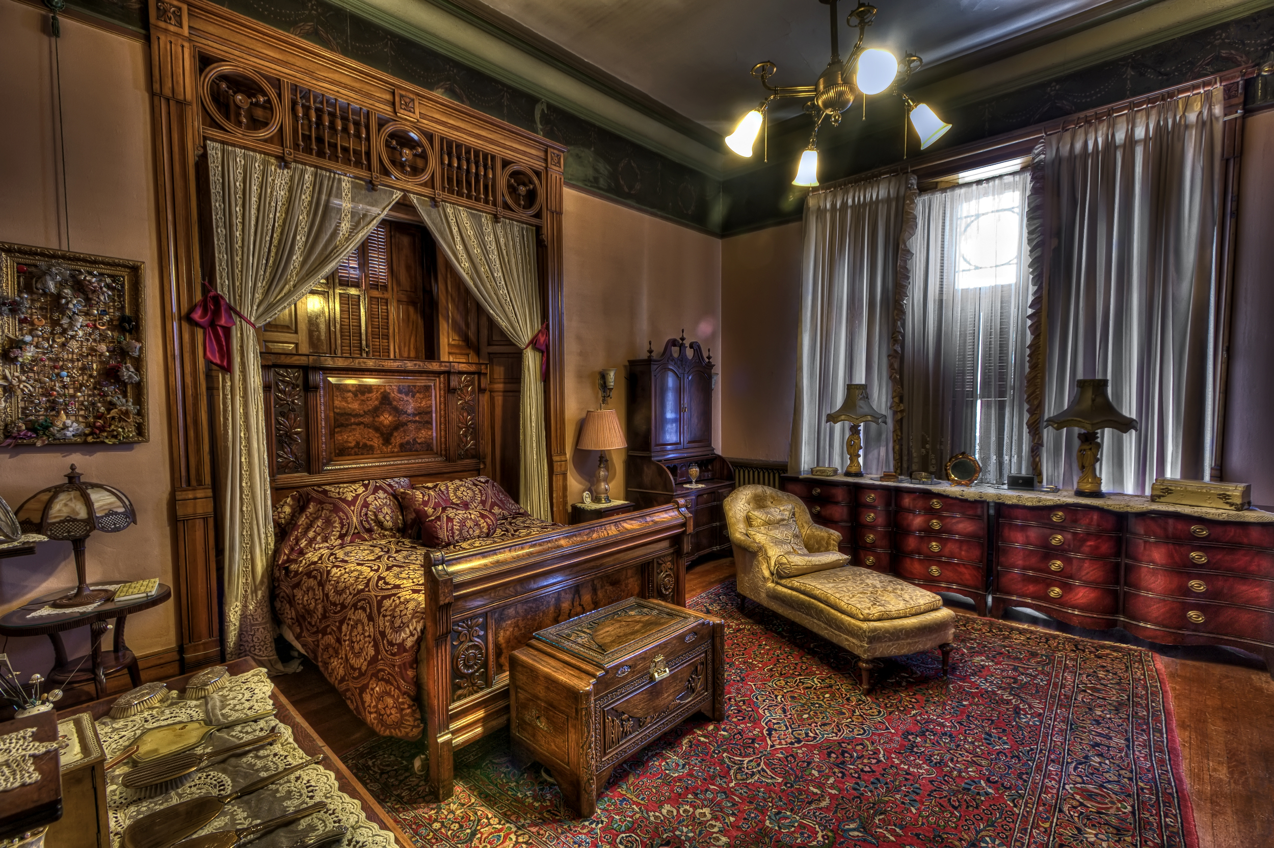 Master bedroom, Copper King Mansion, the W.A. Clark home in Butte, Montana. c. Daniel Hagerman. Prints for sale at http://fineartamerica.com/art/all/copper+king+mansion/all.