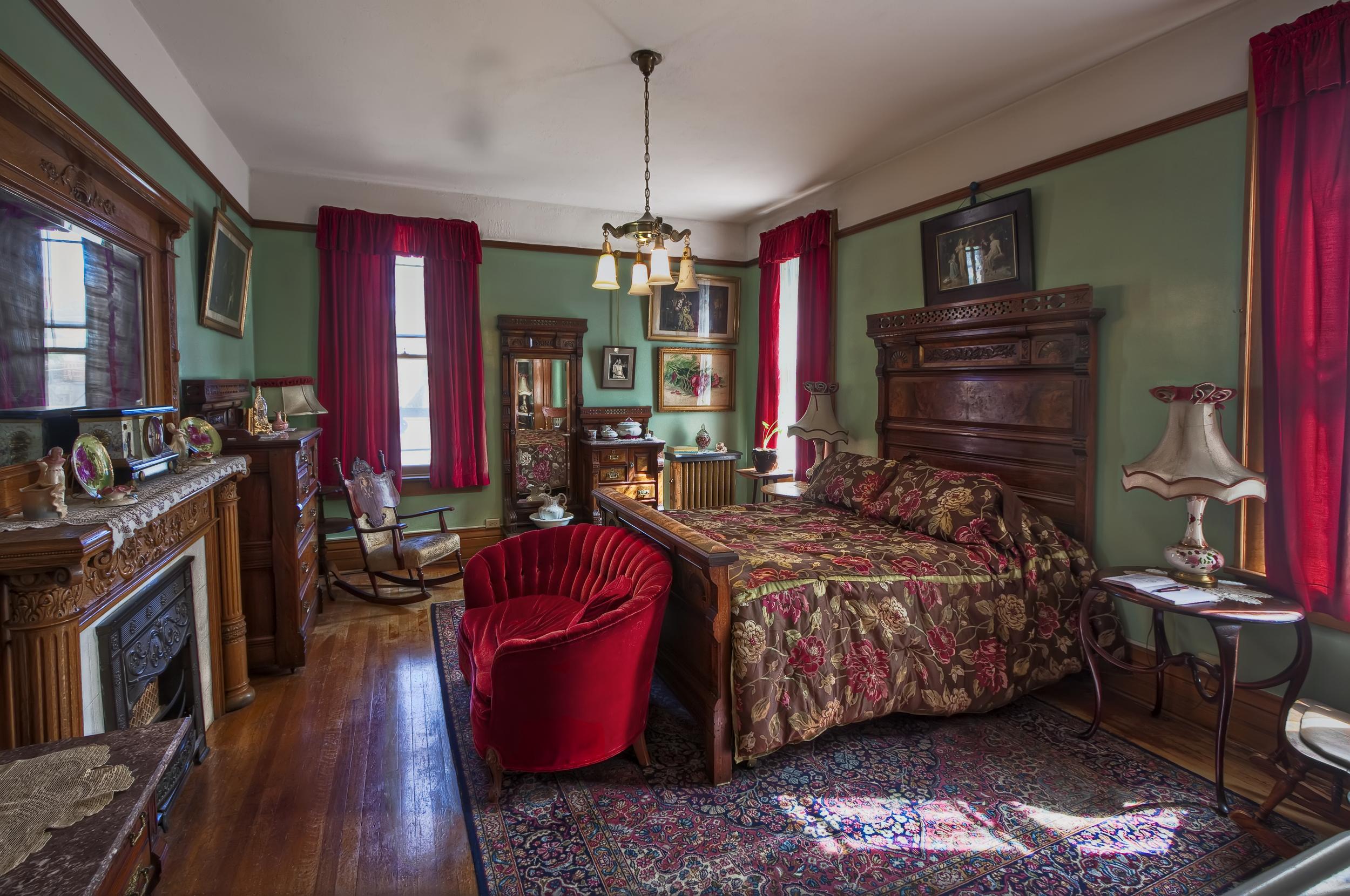 Bedroom, Copper King Mansion, the W.A. Clark home in Butte, Montana. c. Daniel Hagerman. Prints for sale at http://fineartamerica.com/art/all/copper+king+mansion/all.