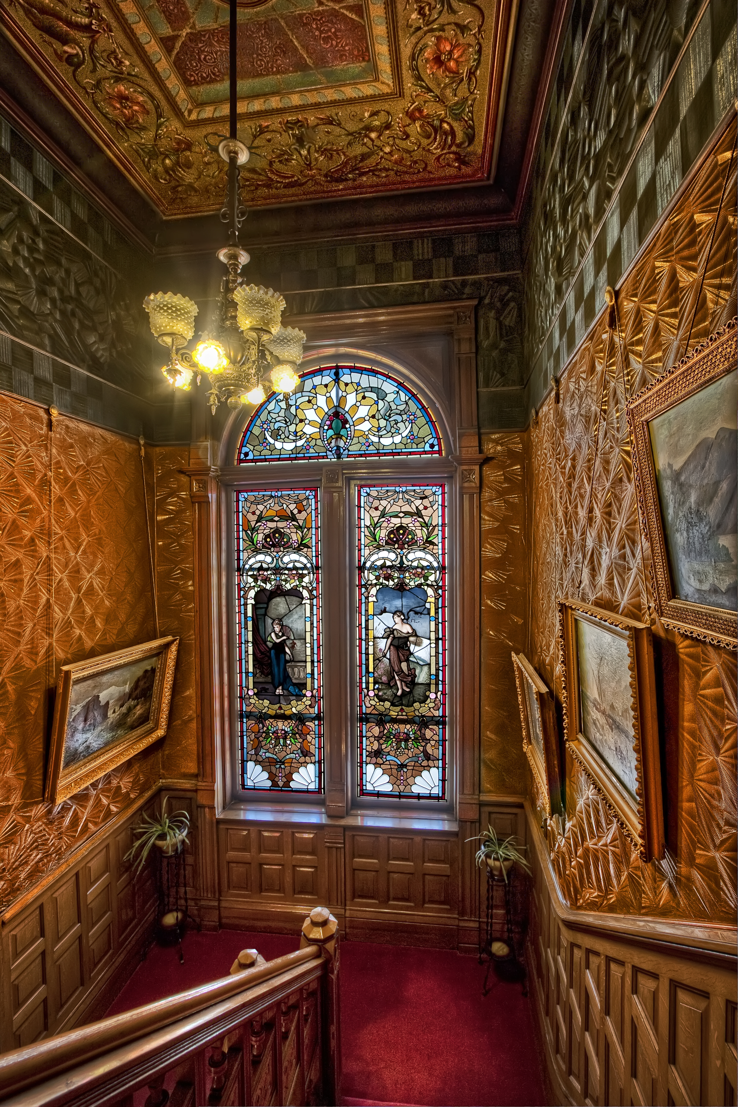 Stained glass, grand staircase, Copper King Mansion, the W.A. Clark home in Butte, Montana. c. Daniel Hagerman. Prints for sale at http://fineartamerica.com/art/all/copper+king+mansion/all.