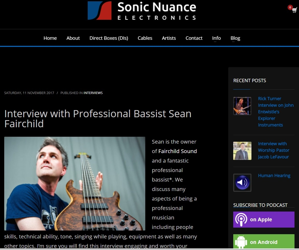Interview with Professional Bassist Sean Fairchild   Sonic Nuance Electronics.jpg