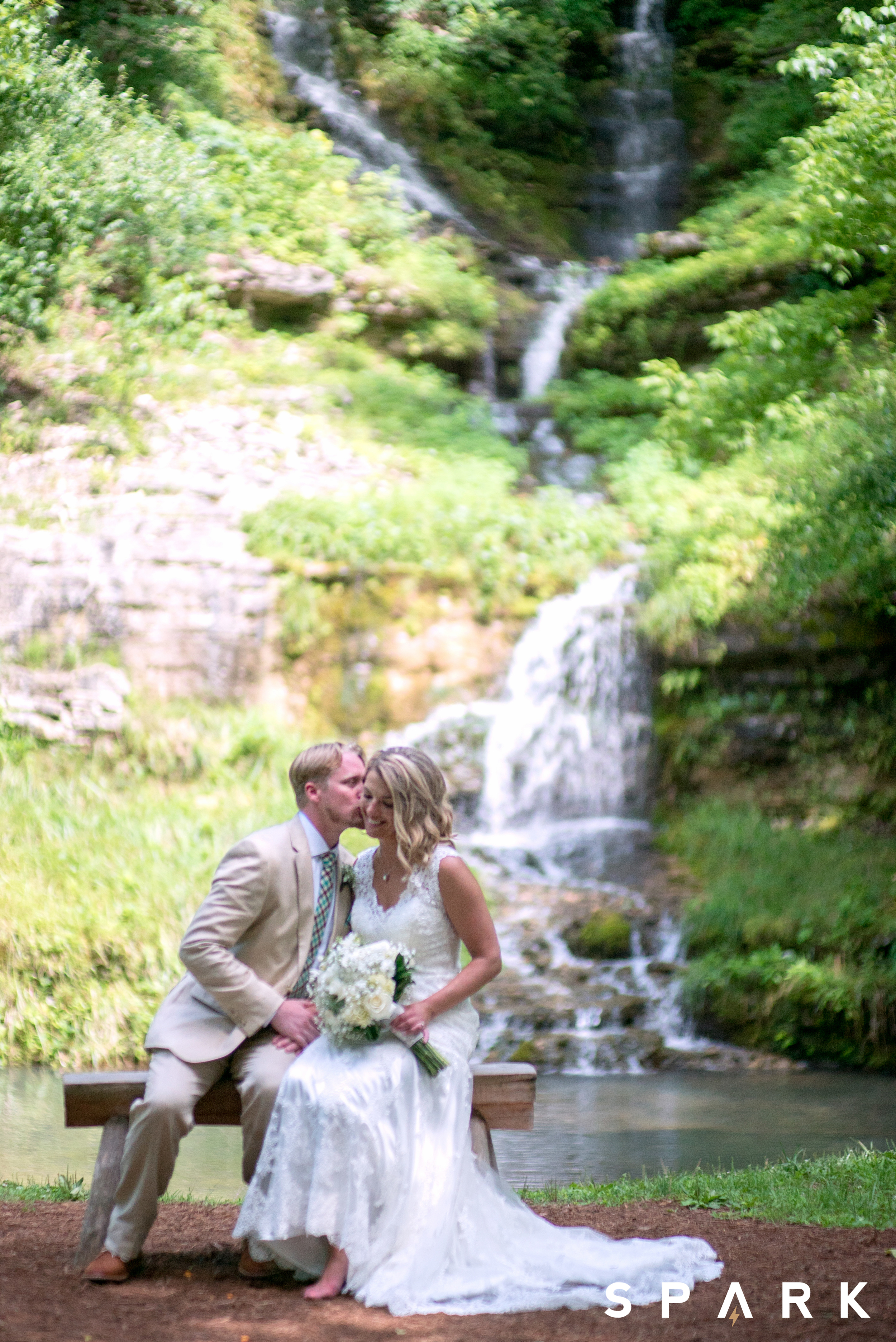Pictured Above : Kelli loved that the chapel looked out onto a magnificent waterfall, creating a picturesque sight.