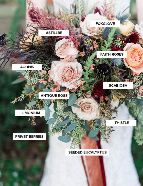 This great guide found from  Antigua- Floral  is a beautiful example of a fall bouquet and gives you every flower you need to know.
