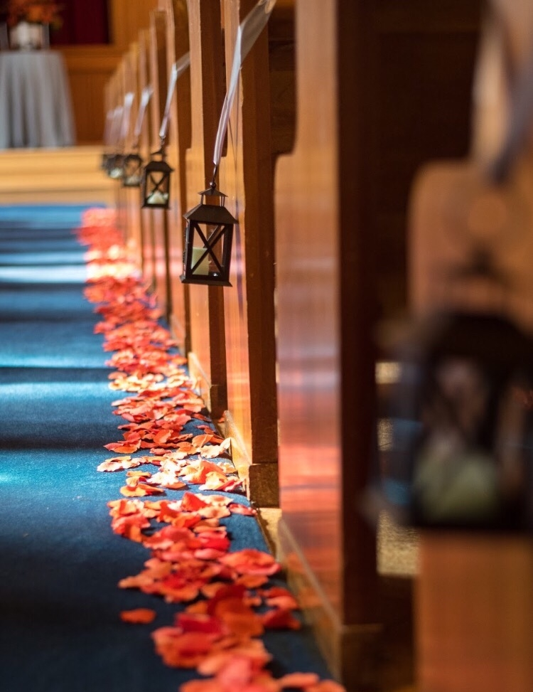 What better decor for a fall wedding than leaves?  Photo credit:  Spark Events