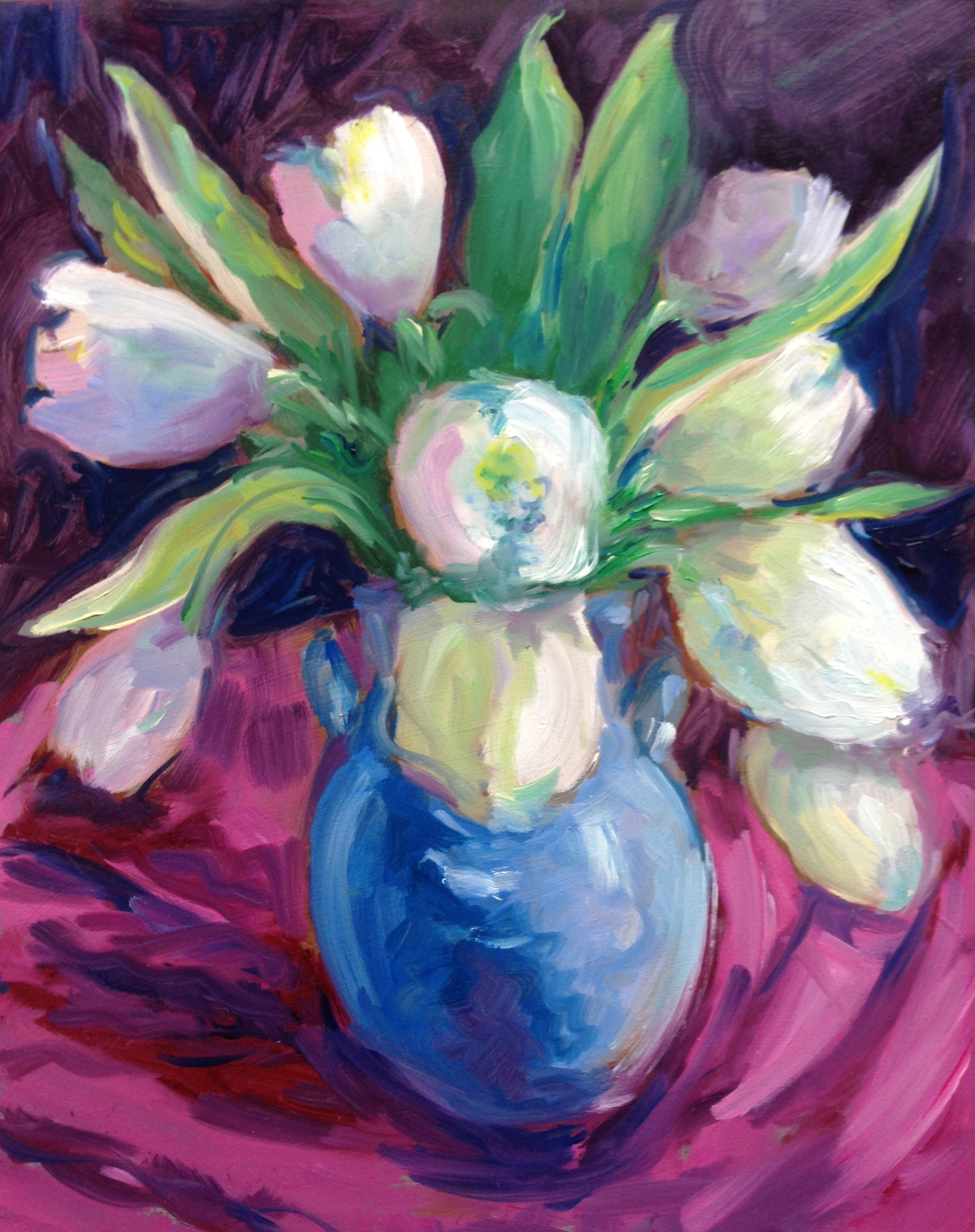 Spring Tulips  oil on board, 8 x10. available