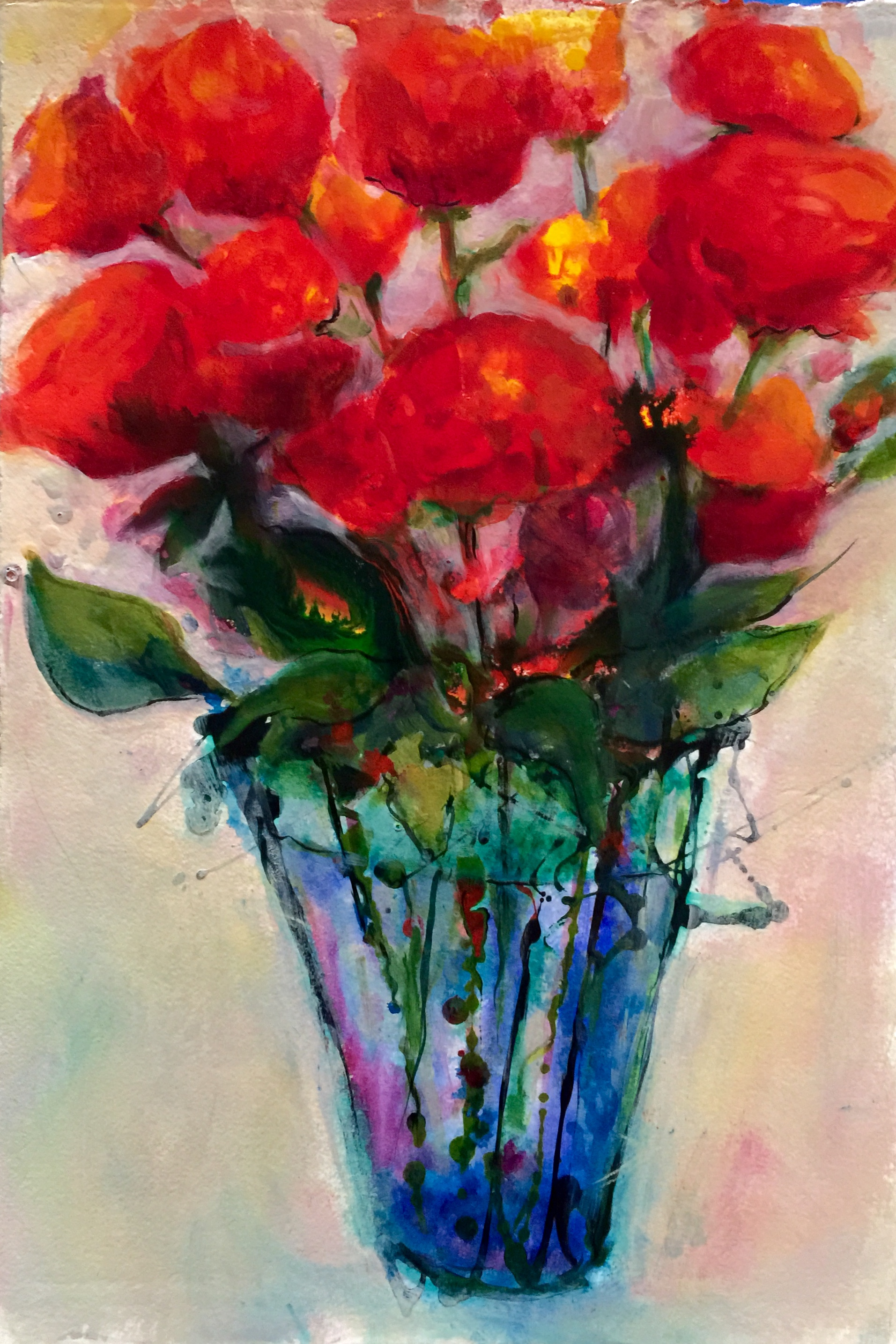 Explosive Roses  Fluid Acrylics on 300 lb paper, 16x22.  Available