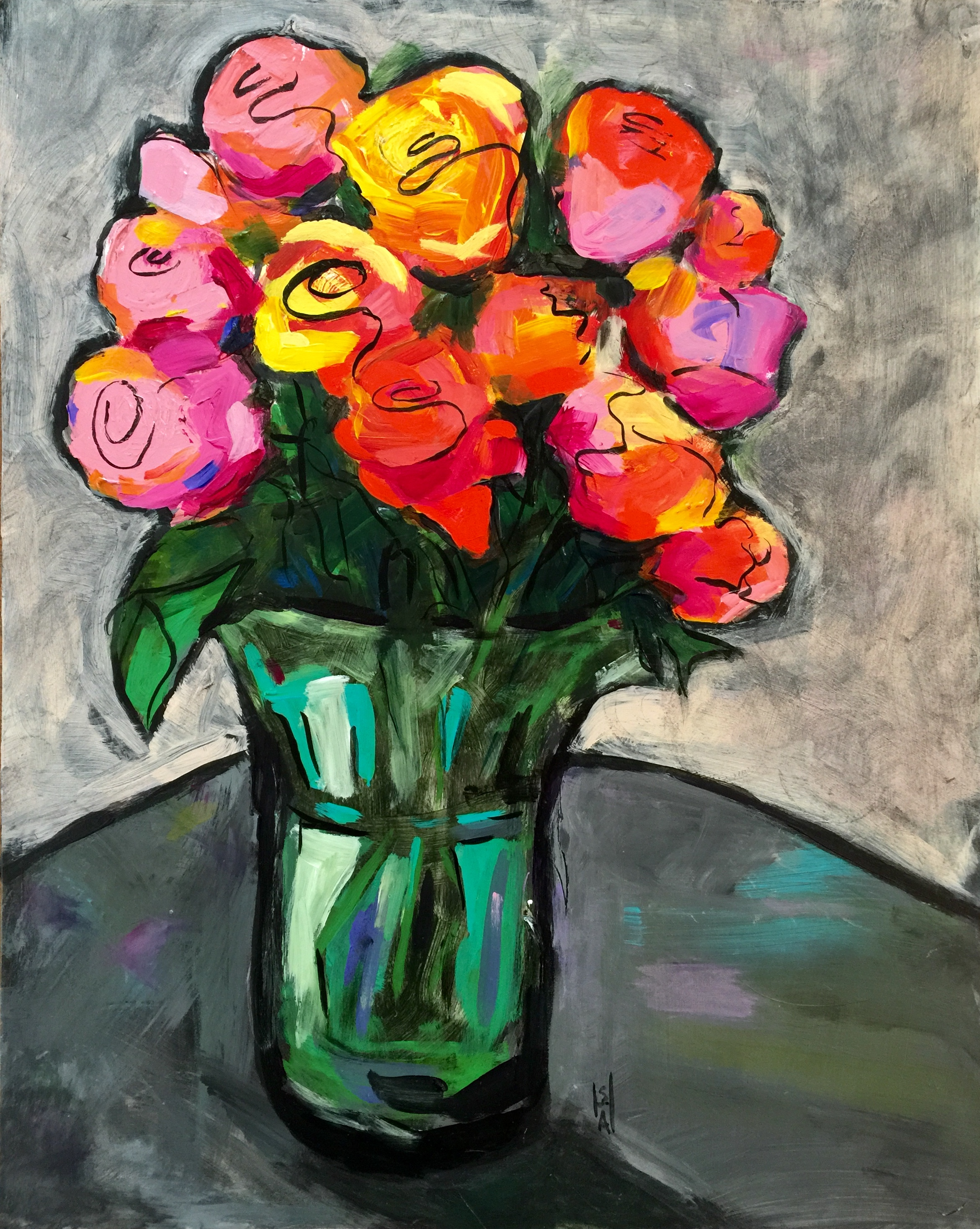 Zippy Roses  Mixed media on gesso board, 16x20. Available