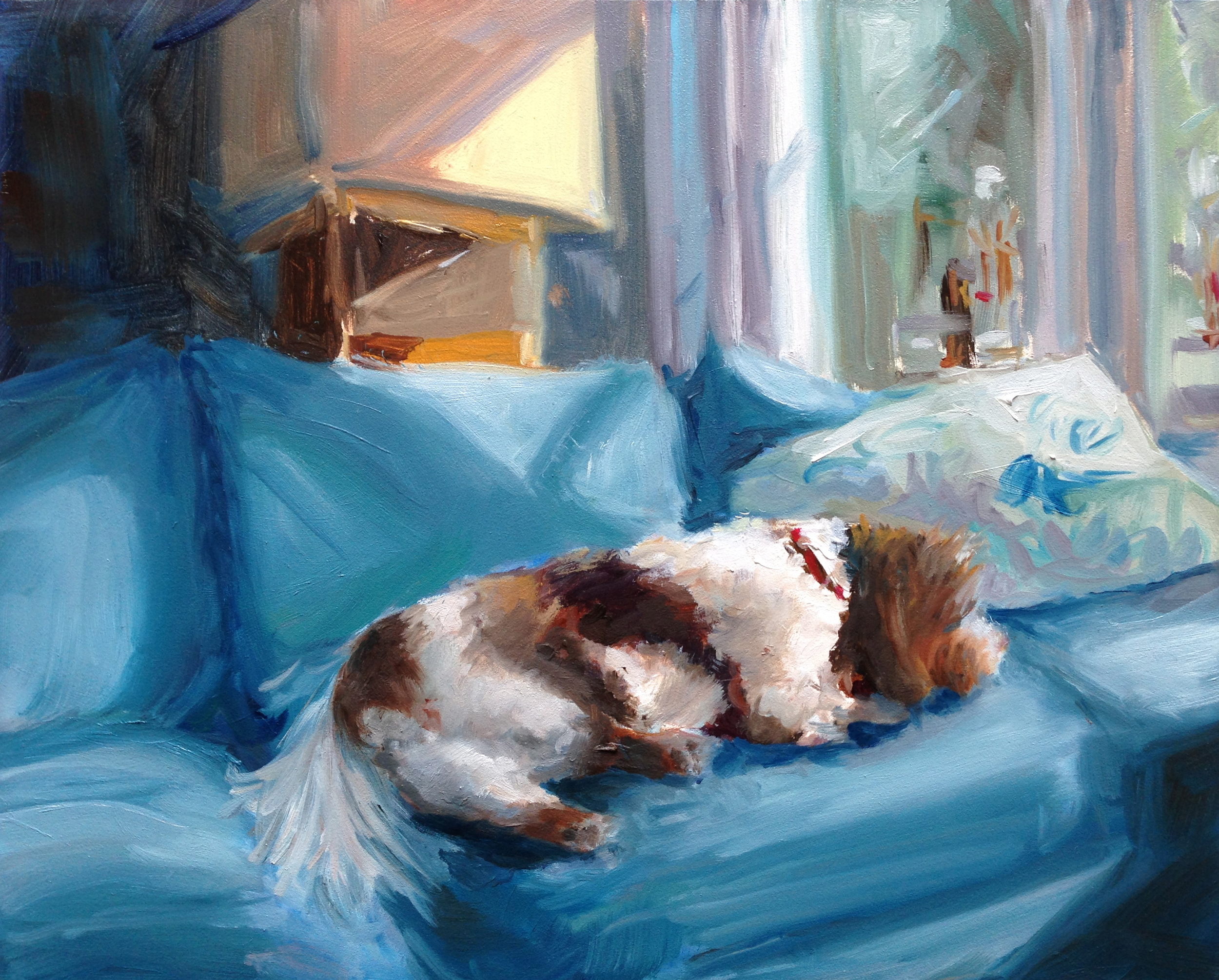 Petey in Repose  Acrylic on board, 8x10/ Private collection