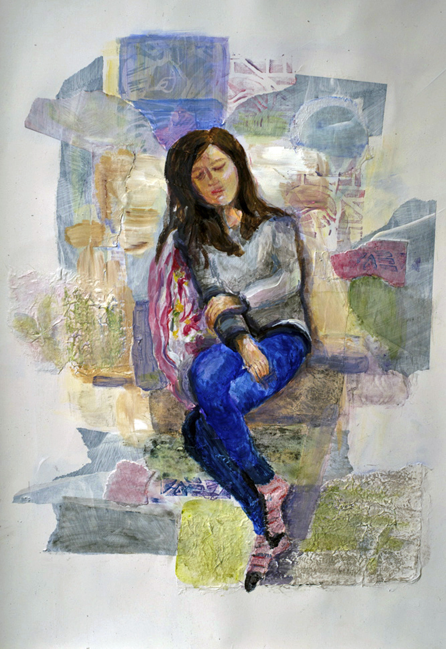 Girl in Repose  Mixed media on paper, 22x30. Private collection