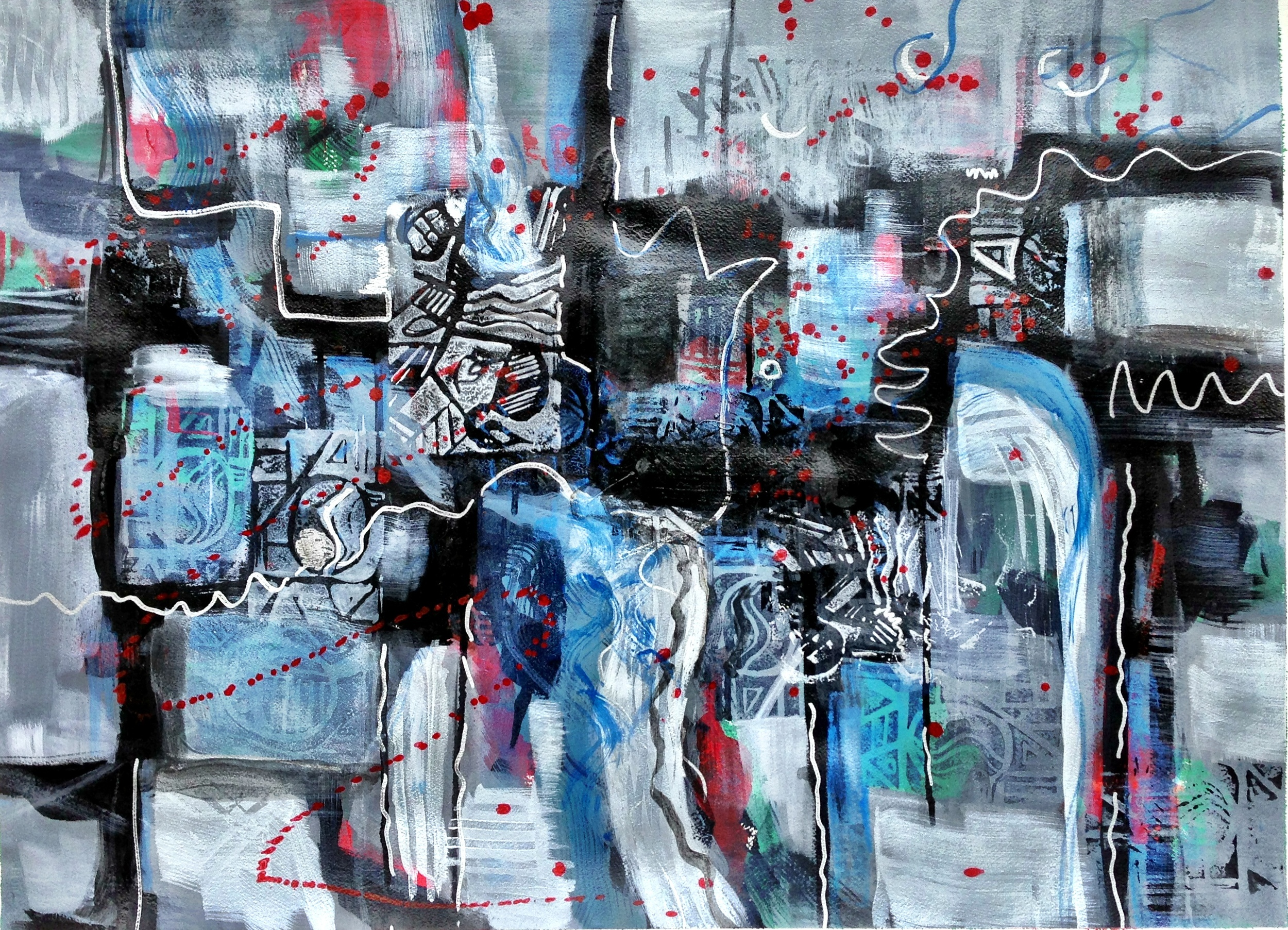 Blue Wall  Mixed media on paper, 22x30 available