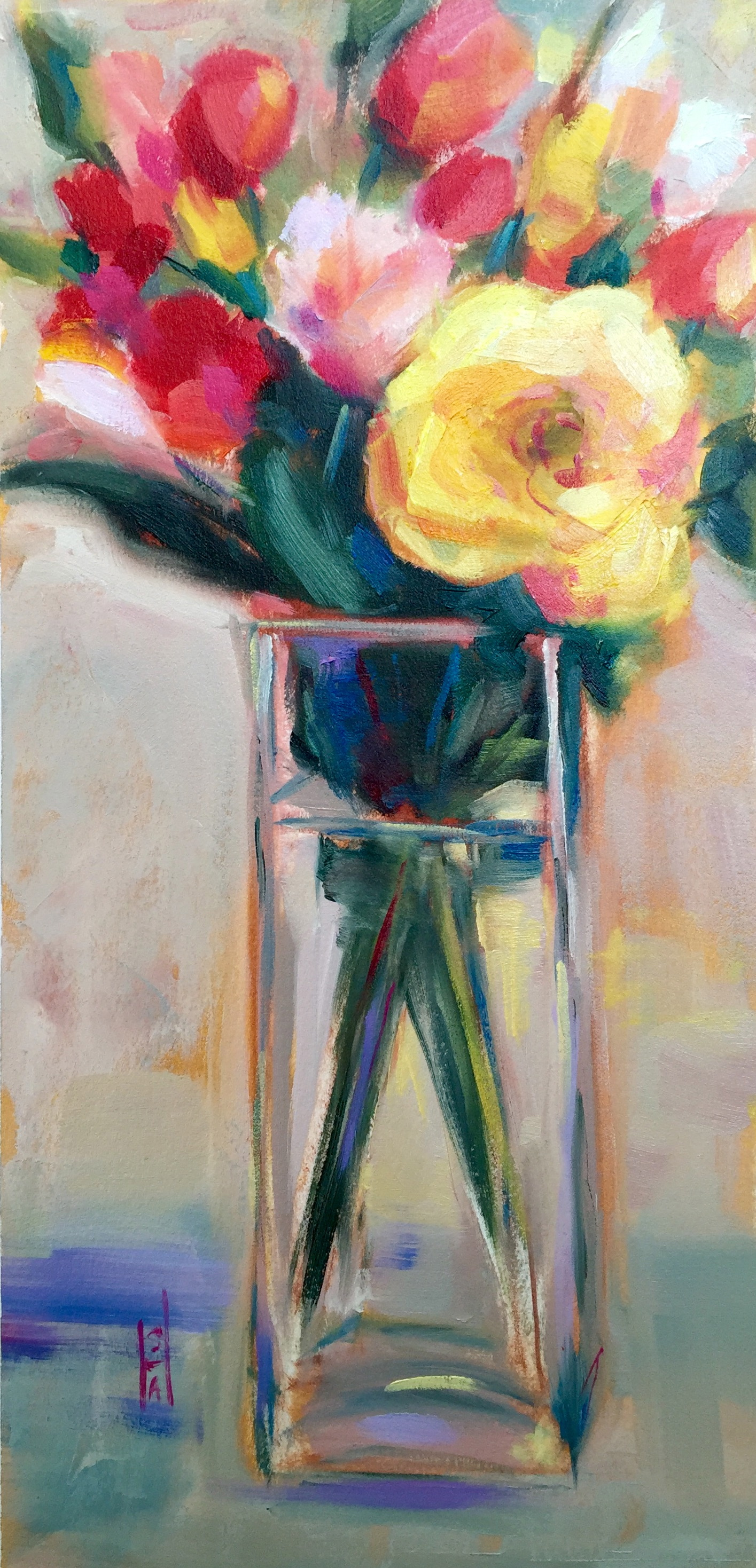 Friday Flower Delivery  oil on Arches paper, 8x 16 available