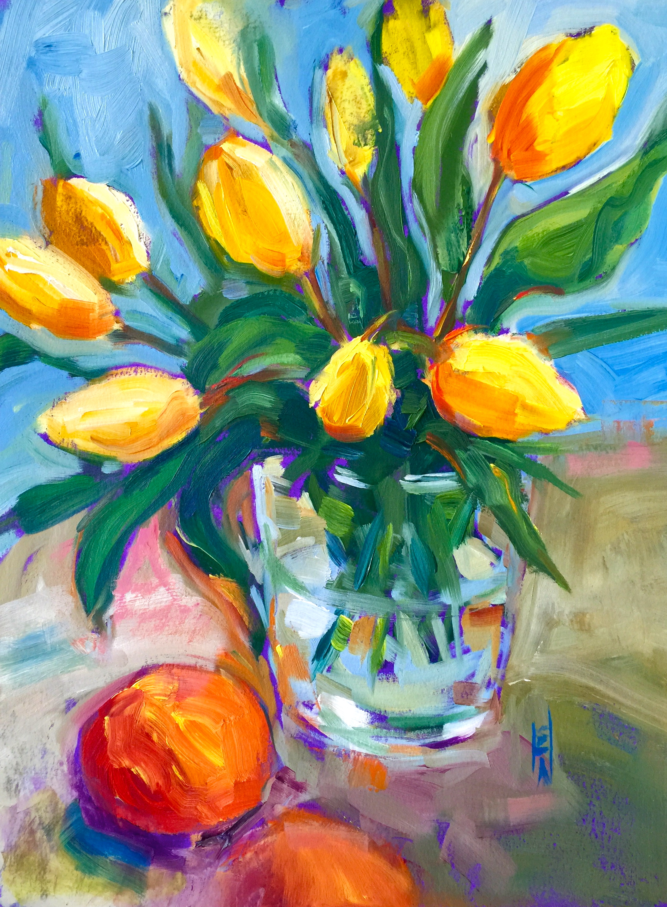 Karen's Tulips, 12x16, oil on Arches paper, available