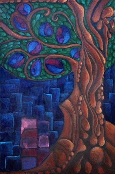 "The Body Tree  Acrylic on Canvas 20""x40"""