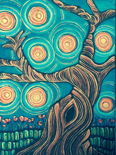 "The Tree  Acrylic on Canvas Notebook 8""x11"""