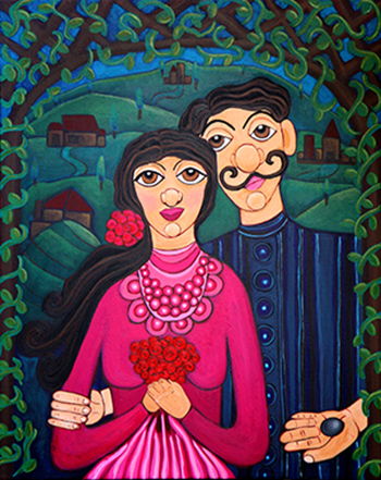 "Sofia and Santiago: The First Stone  Acrylic on Canvas 24"" x 36"""