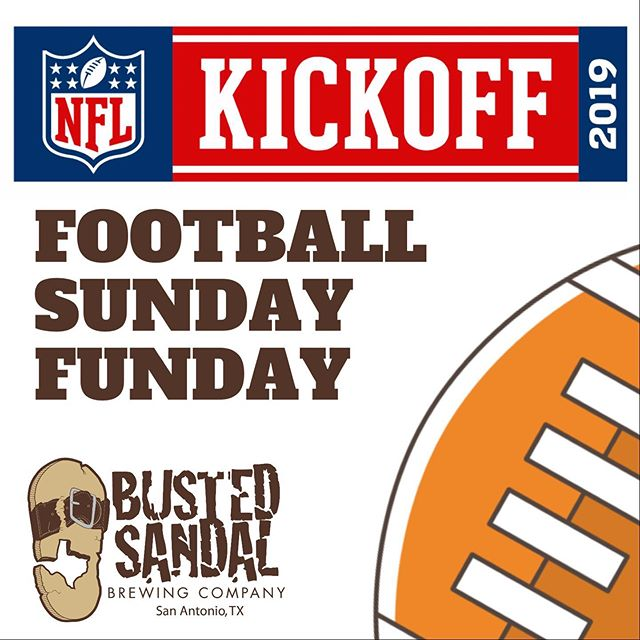 Spend your Sunday with us!! Football on multiple TVs and cold craft brews flowing all day long. 🏈 We'll be open until 10:00! 🏈 #Kickoff2019 #BustedSandal . . . . . . . . . #BustedSandal #craftbeer #beergeek  #SanAntonio #Texasbeer #beerstagram #ilovecraftbeer #SanAnto #craftbeercommunity #GoTexan #drinklocal #brewhead #SACraftBeer #instabeer #KeepSAReal #SATX #TexasCraft  #SavorSA #igsanantonio #SAFoodgram #SAFoodies
