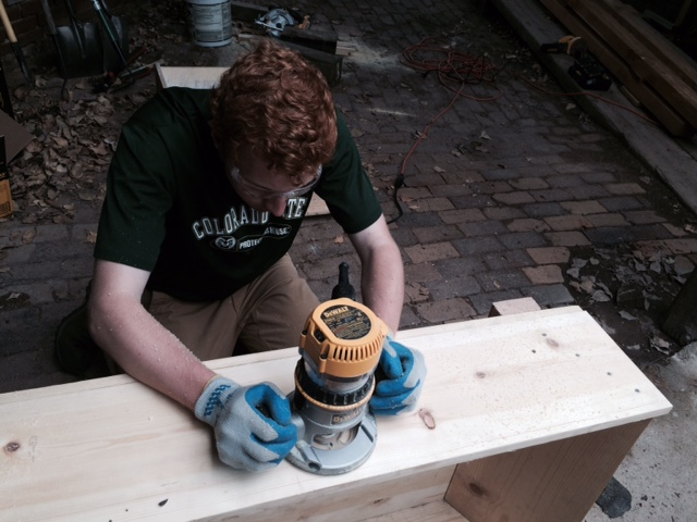 Sean Kiely working on the finishing touches of his mortar box.