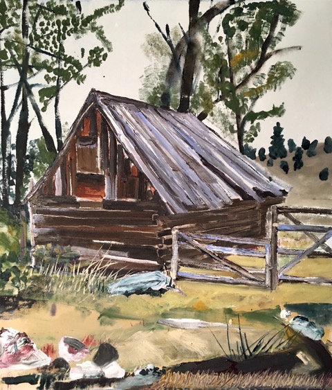 Old Shack with Gated Fence, Acrylic on Canvas