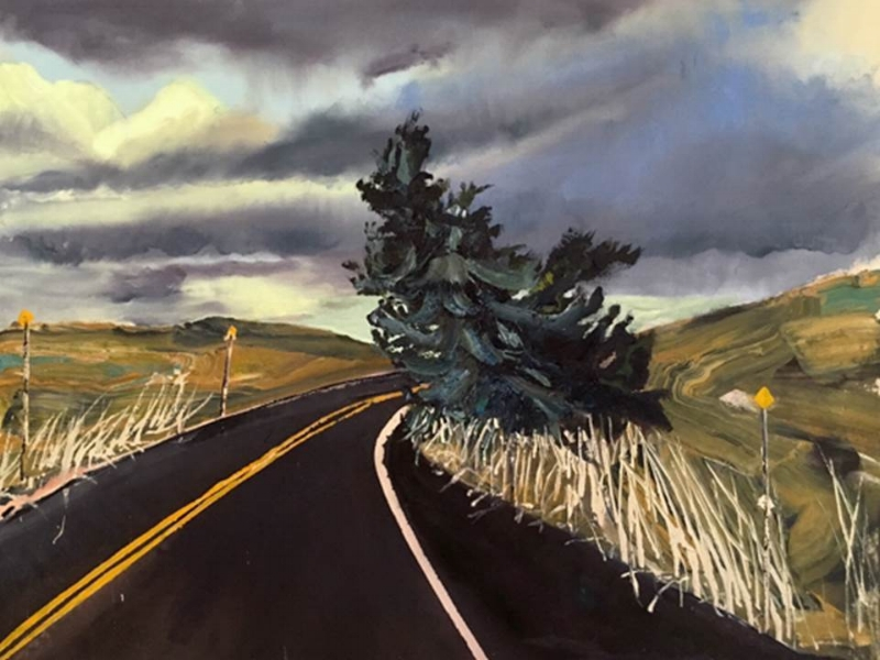 Tree at Bend in Highway, Ben Bloch, resident artist in Virginia City, 2016.  www.Benbloch.com