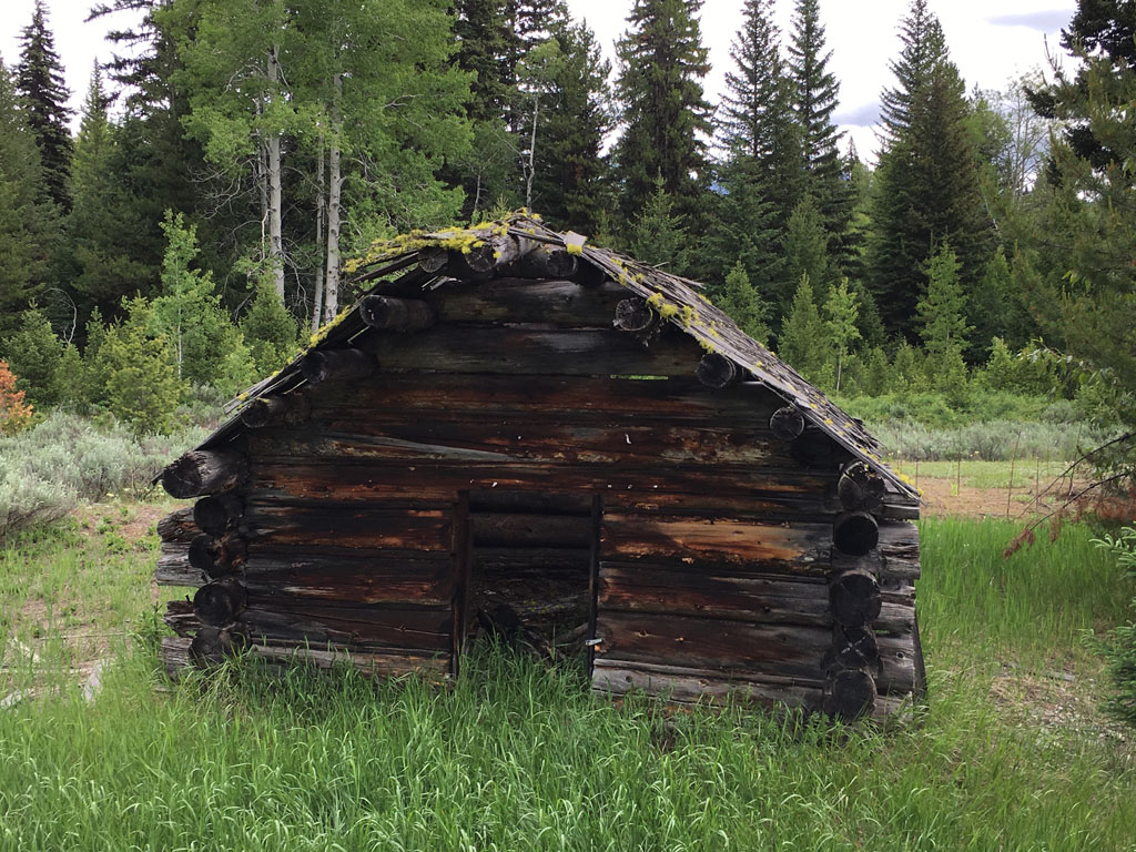 One of the remaining early cabins at the Kintla Ranch.