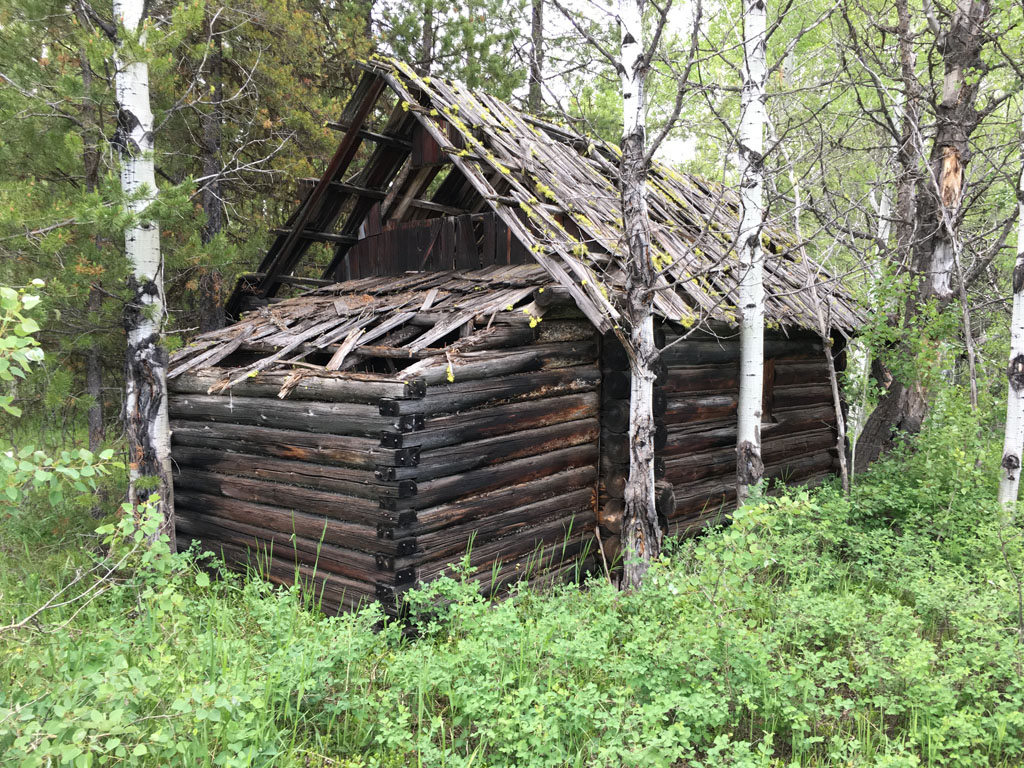 A rear view of one of the larger cabins at the Kintla Ranch.