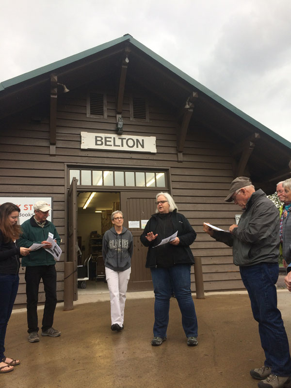 Julie Dougherty of the Glacier National Park Conservancy and Deirdre Shaw, Glacier National Park Museum Curator met us at Belton Depot to fill us in on this most important station on James J. Hill's Great Northern Railroad.