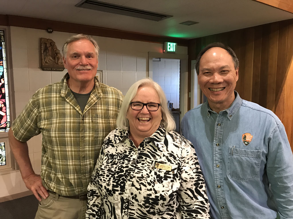 Left to right: Tom Beaudette, DCI Engineers; Deirdre Shaw, Glacier National Park Museum Curator; Jeff Mow, Glacier National Park Superintendent gave an engaging and hopeful talk highlighting the past, present, and future of the beloved Sperry Chalet in Glacier National Park.