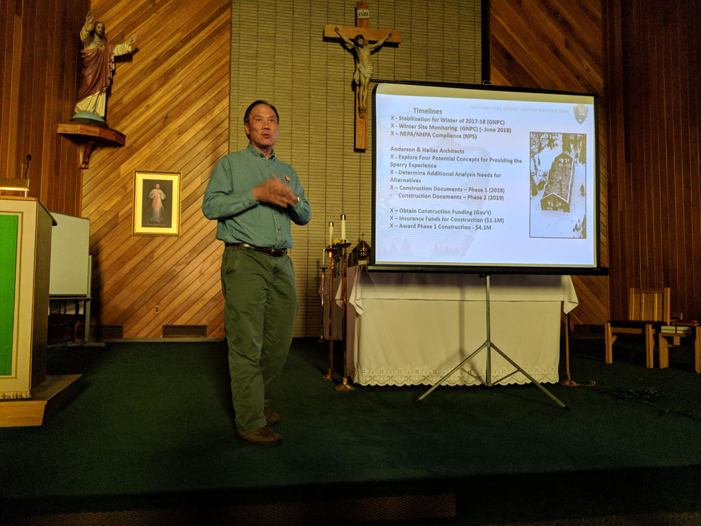 Jeff Mow, Glacier National Park Superintendent, detailed the public process to plan the course for Sperry Chalet, and highlighted the public's hopes and dreams for the future of Sperry Chalet.