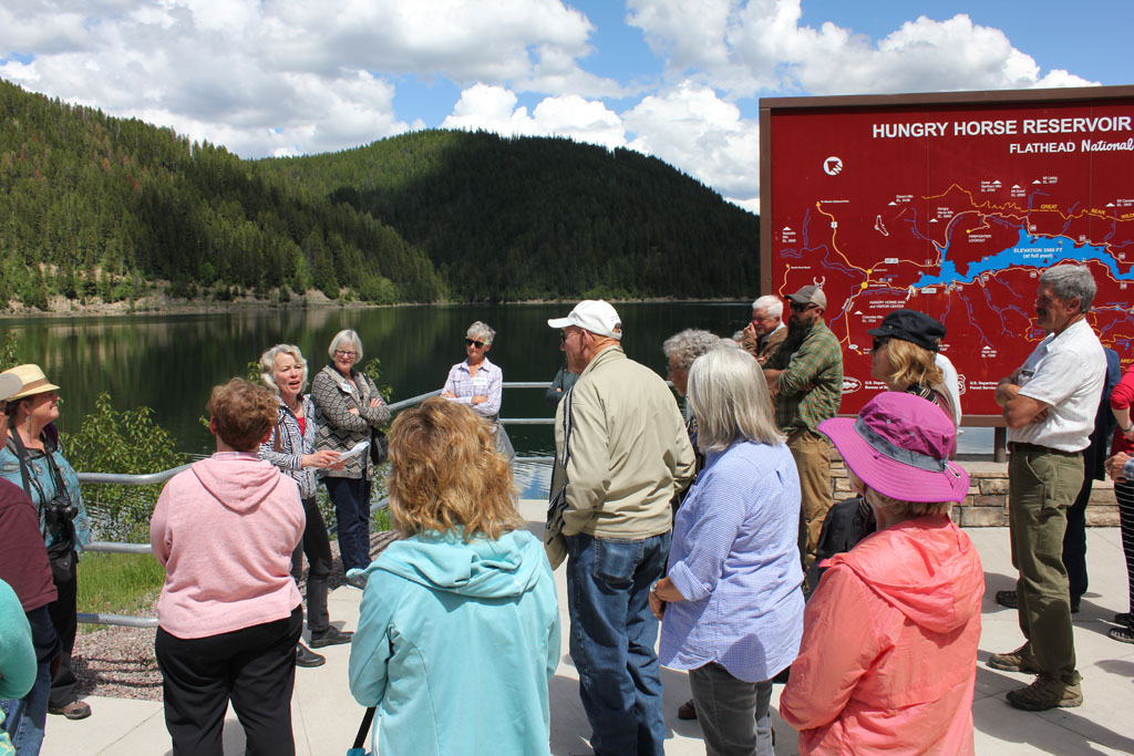 Historian Charlene Roise has documented several dams in the Grand Coulee Dam system, including Hungry Horse Dam and Powerhouse. Before the Road Show group headed down to the Power facility, Ms. Roise gave some background history on the construction and engineering of the dam.