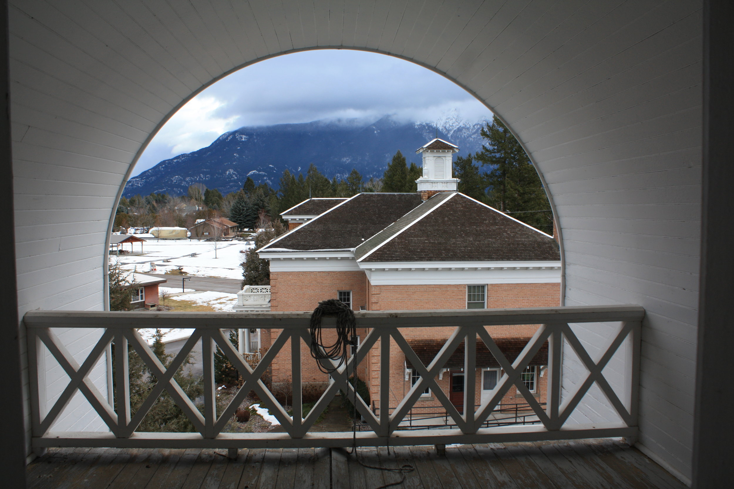 There is an excellent view of the mountains and the Flathead River from the Crow's Nest up in the center gable end.