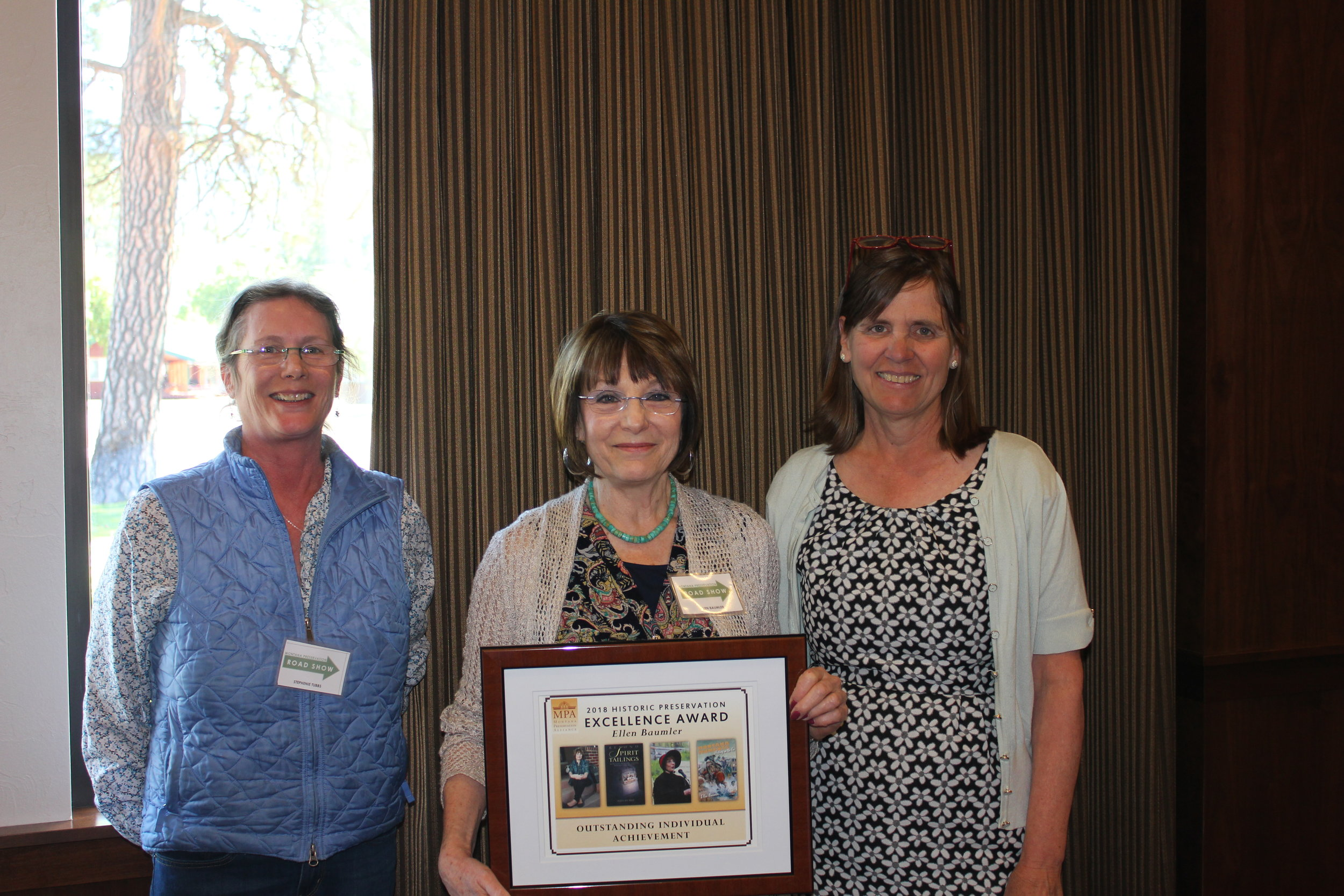 Outstanding Individual Achievement Award Winner Ellen Baumler with MPA Board Member Stephanie Ambrose-Tubbs (left) and Chere Jiusto (right).