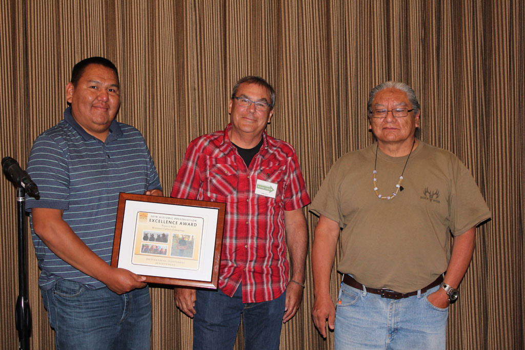 Francis Auld (right) accepting the Outstanding Individual Achievement Award Winner with fellow CKST tribal historian Kevin Askan (left) and MPA Board Member Carl Davis (center).