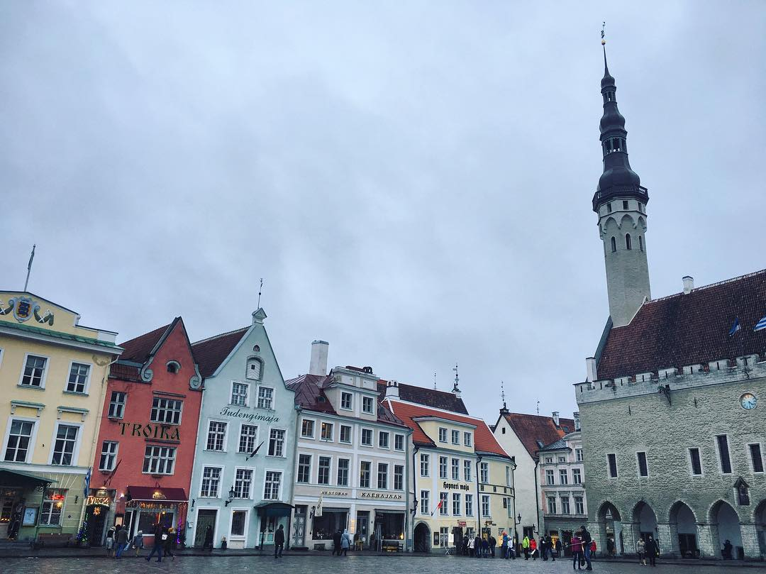 I loved this square in Tallinn, Estonia. Reminded me of Prague, Sweden and Norway. Loved how the bright buildings popped against the grey sky. It was winter then.