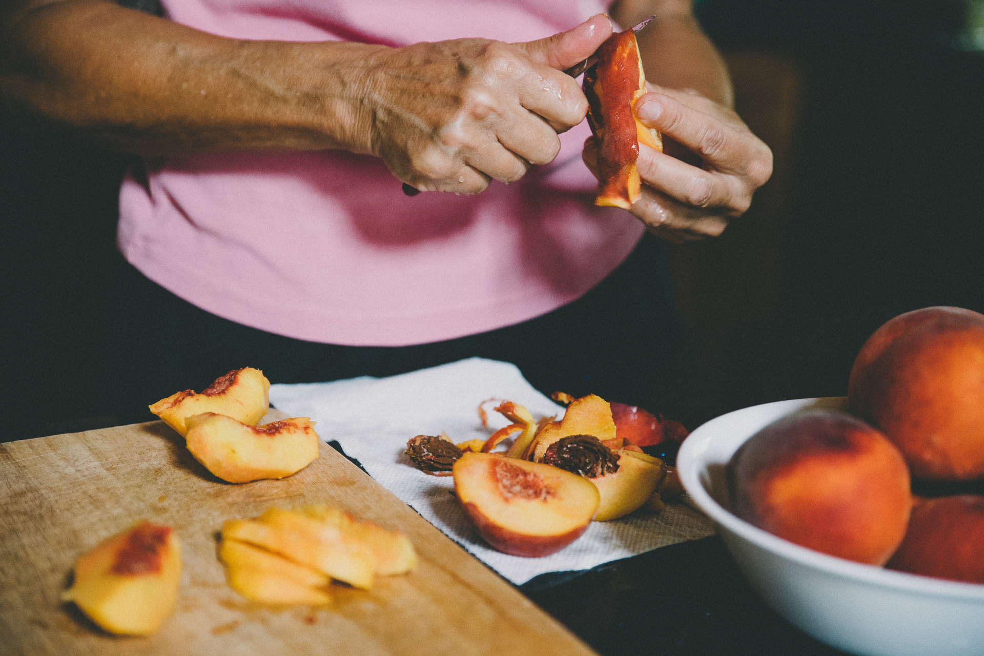 Thanks to Kristin's mom Lynn for doing the unenviable task of peeling and slicing all those peaches!