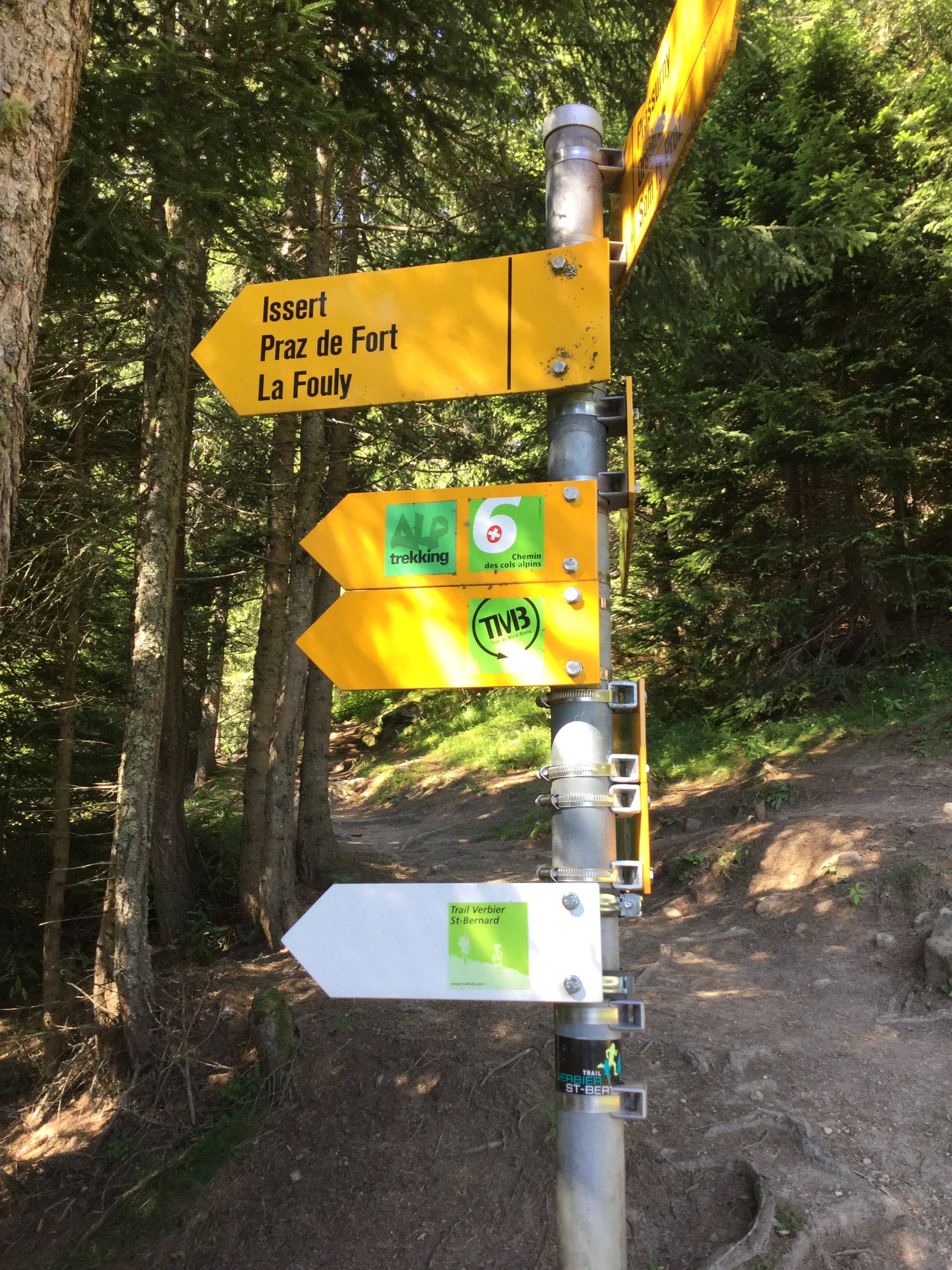 Where there is a sign post the TMB is marked although you are more likely to see the yellow diamond with a black border painted on a rock, building or tree signing the way.