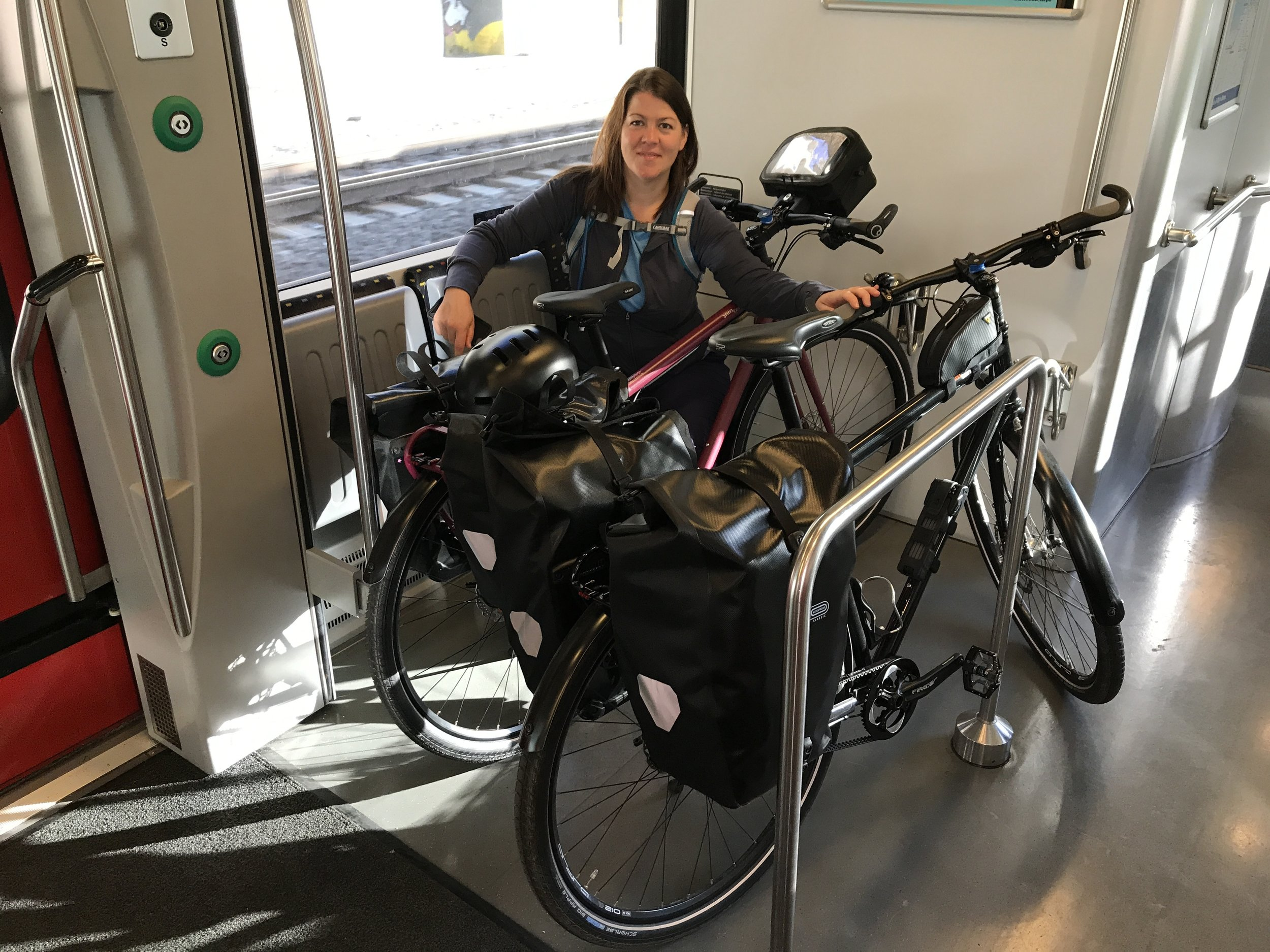 Transporting Bikes - Luckily there is space on the train but it's not always so easy!