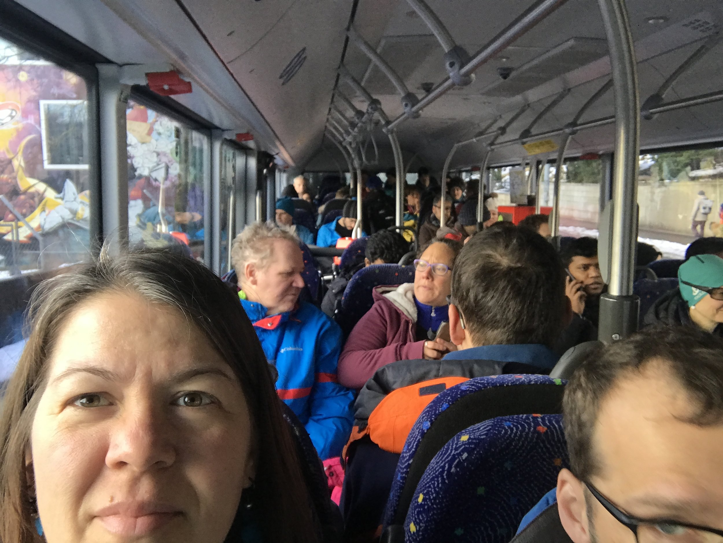 There was standing room only in the bus until a second bus arrived to take the overflow.