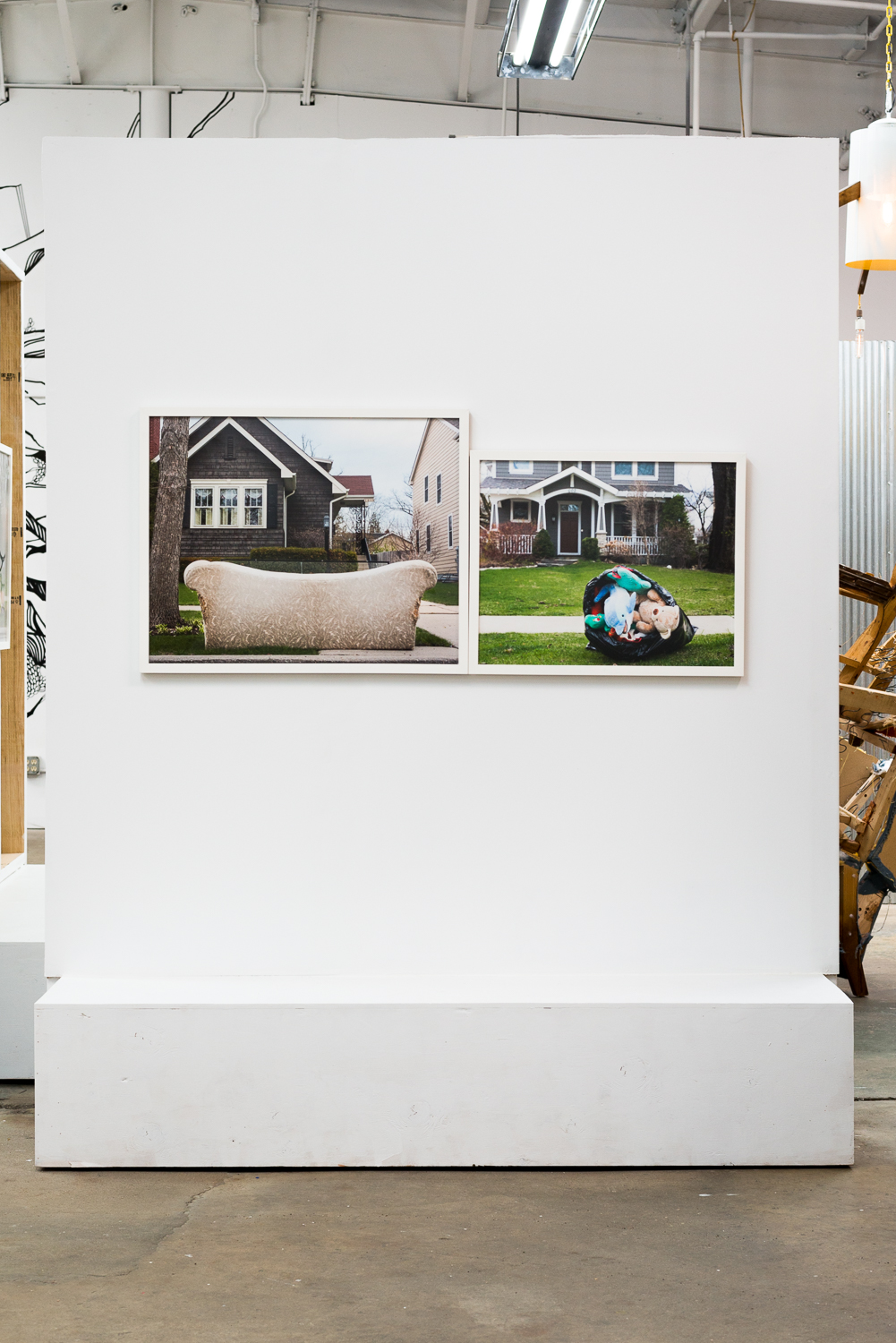 Gray Couch 2014, 24x30 framed Archival Pigment Print. Stuffed Animals, 2014, 20x25 framed Archival Pigment Print.