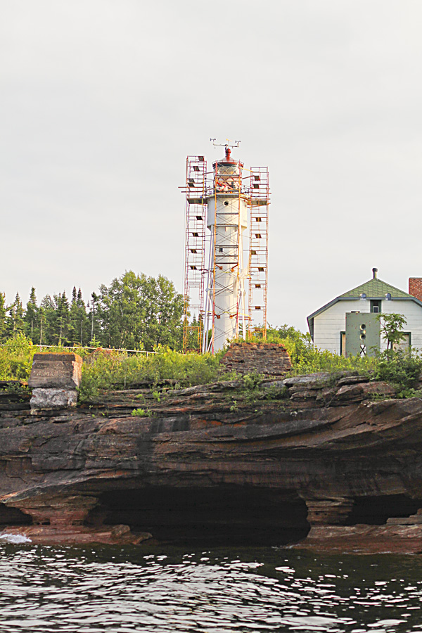 There are several lighthouses on the islands. Even though the islands are unpopulated and the lighthouse technology is no longer necessary, they are still trying to maintain them as part of history. This lighthouse was under construction.