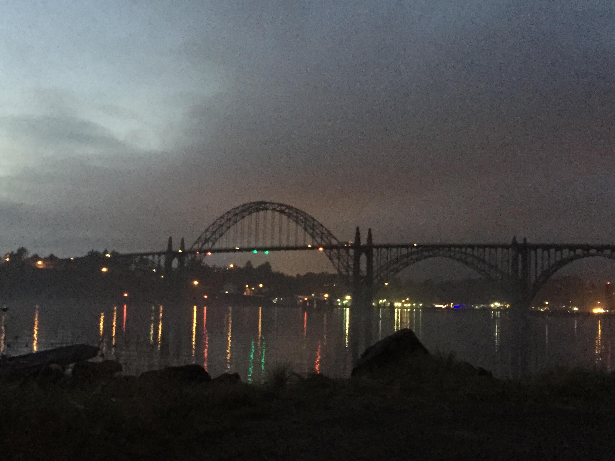 Newport Bay at night