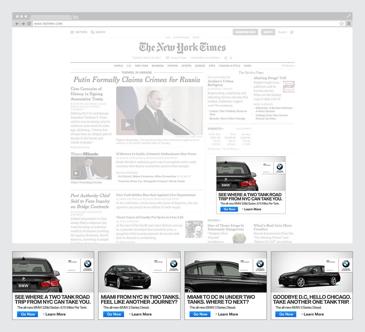 Using the names of well-known newspapers, we created a digital cross-country journey from one news page to the next, one tank at a time.
