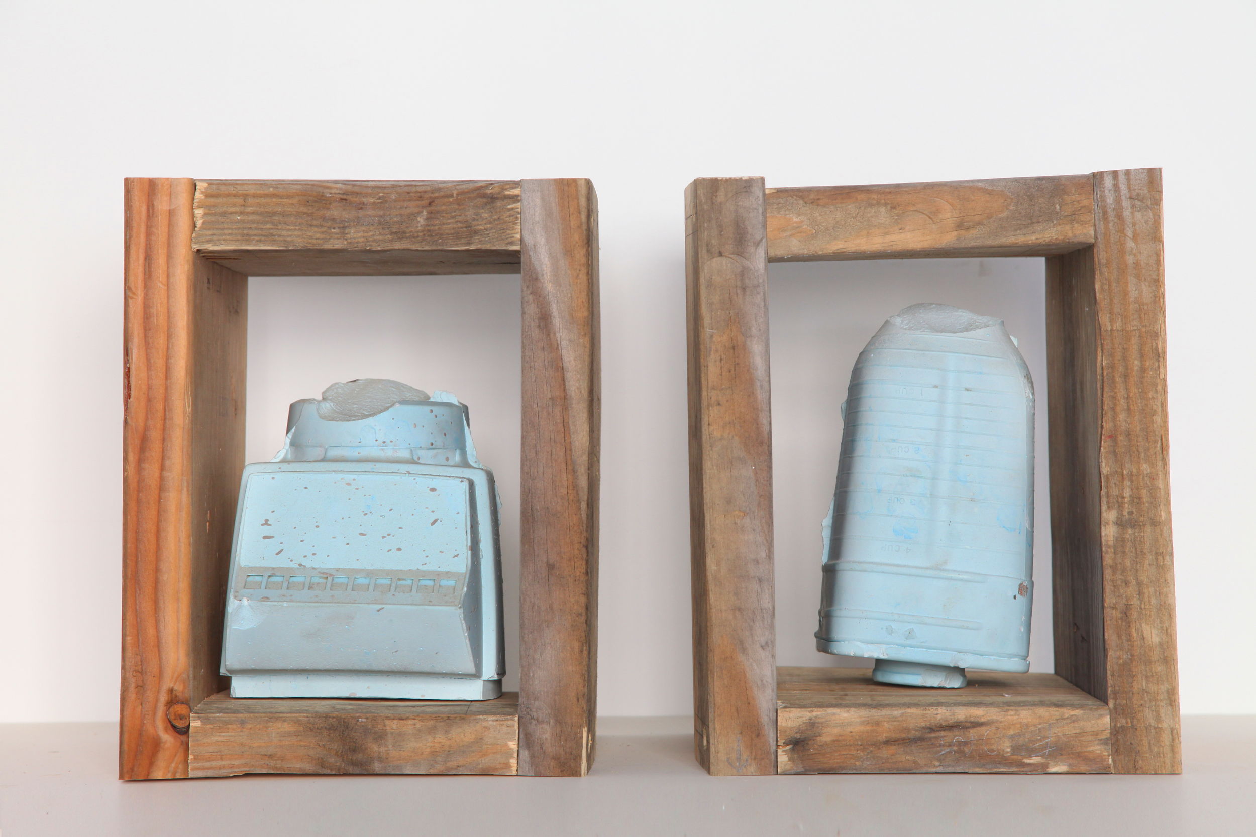 Blender Diptych, 2013 wood, plaster, pigment 18 x 9 x 13 in
