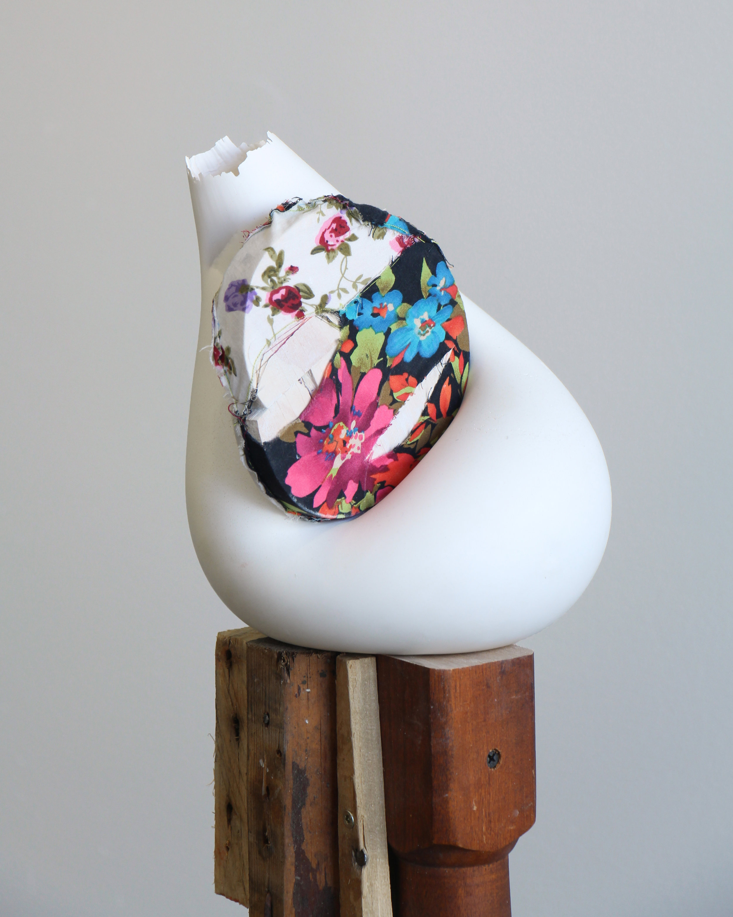 """And as Honeysuckle Is Sweet so Is This Flower Salt, 2016 plaster, fabric, wood 8 x 7 x 6"""""""