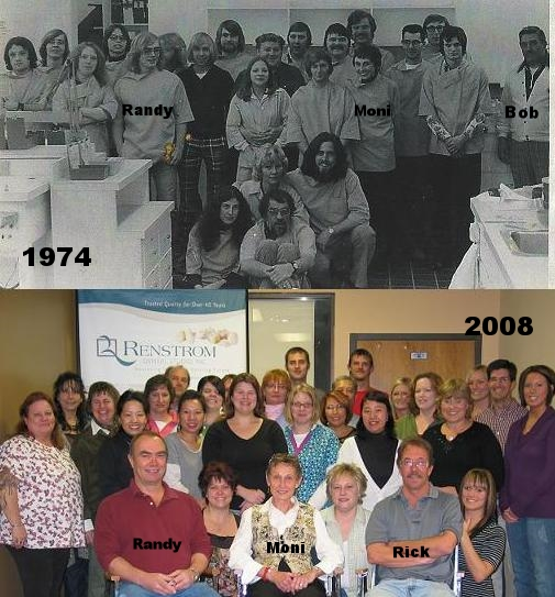 The top photo is the lab, around 1974. Randy, Moni, and Bob are all pictured. The bottom photo is of the lab in 2008, when Renstrom and Crocus merged together under the name Renstrom Dental.