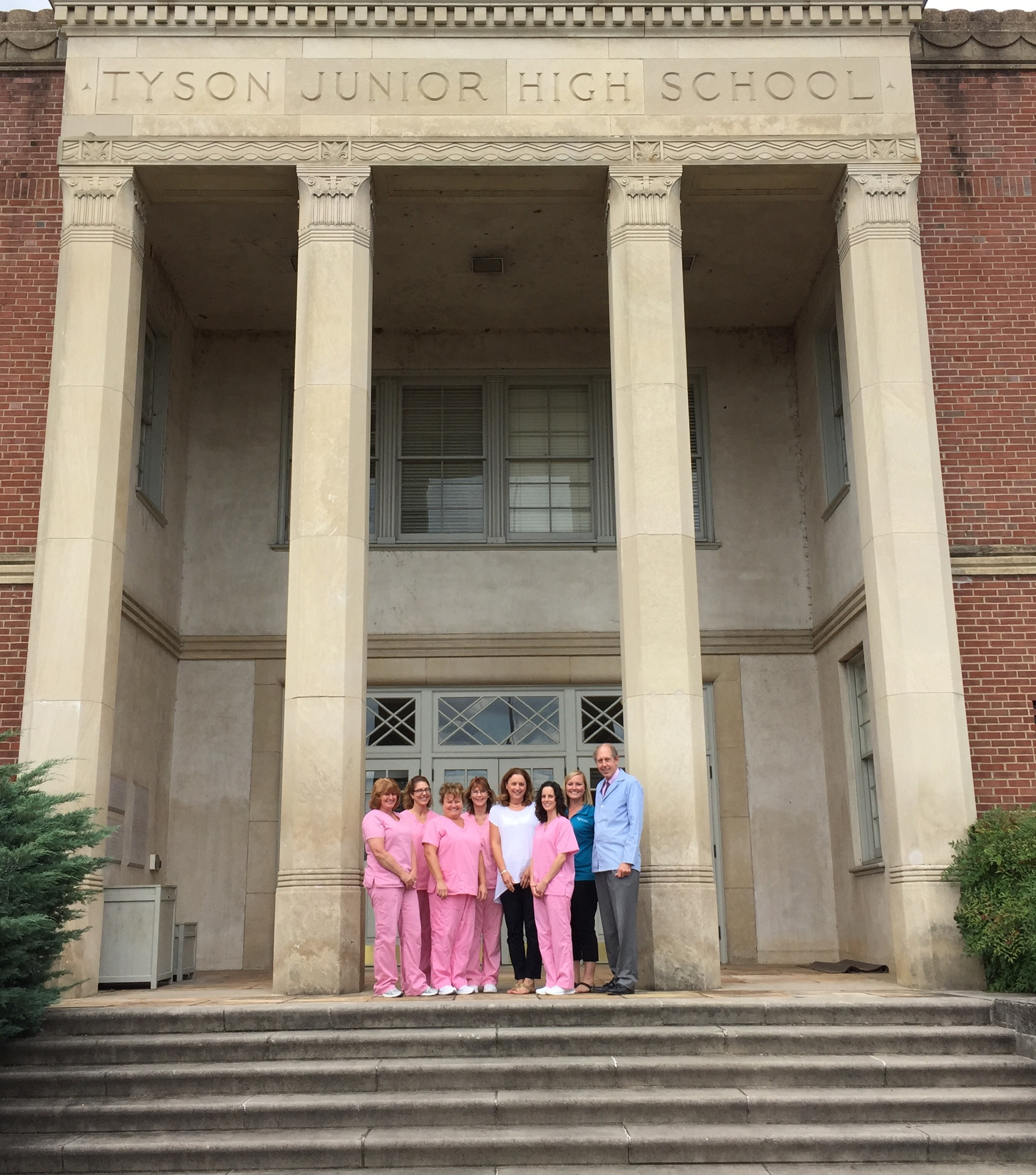 Dr. Fain's office is located in a historic school building!