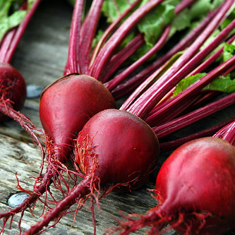 Red Beets  - You can eat the tops like spinach, but the root of this vegetable is more popular. Don't fear the beet! Although, cooking beets may seem daunting, it's really quite simple. Roast beets in the oven, add some water to the pan and cover in foil, cook for 45min-1hr or until the beet is fork tender.Let them cool slightly and then rub the skin off with a paper or cloth towel. Slice and eat warm or let them cool and add to salads. Beets can also be eaten raw or pickled!