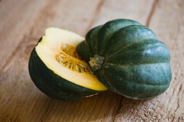 Kabocha  - A Japanese variety of winter squash. In some cultures it is revered as an aphrodisiac. It's popular for its strong yet sweet flavor and moist, fluffy texture. Like other squash-family members, it is commonly mixed in side dishes and soups or anywhere pumpkin, potato, or other winter squash would be used. The simplest way to prepare Kabocha is to dice it, toss it in olive oil and salt, and roast it until tender. This is a warming hearty dish on it's own or as a side to any fall meal.
