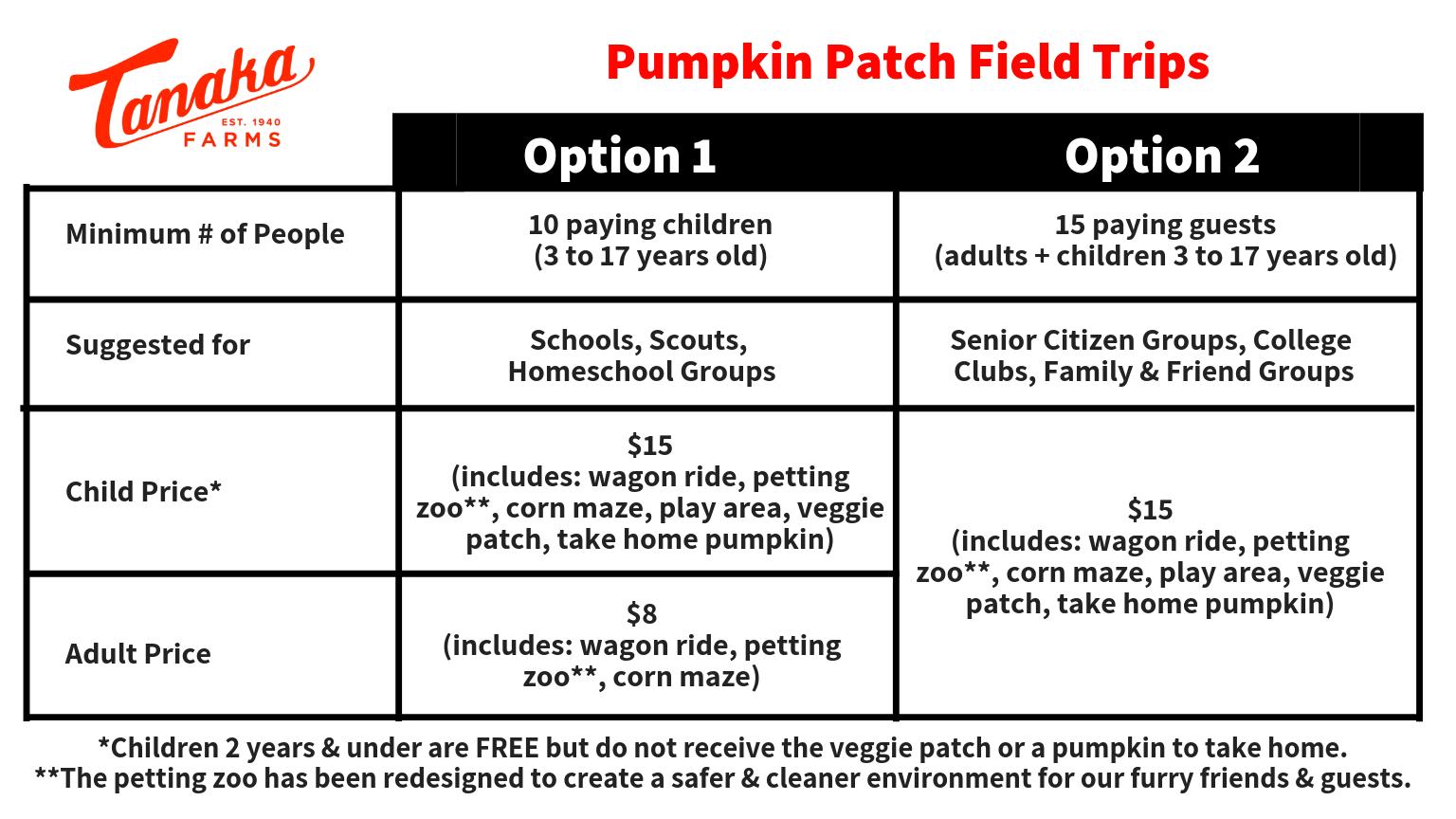 Pumpkin Patch Field Trip Pricing